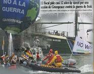 Yo también me manifesté contra la guerra de Irak, yo también quiero ir a la cárcel con Greenpeace